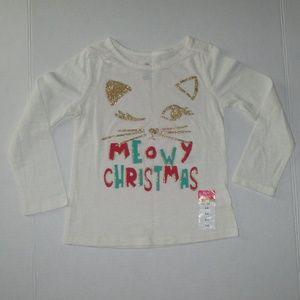 New Girls Size 4 Okie Dokie Meowy Christmas Top